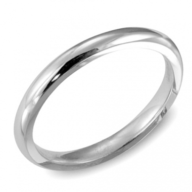 14K White Gold 2MM Dome Comfort Fit Wedding Band