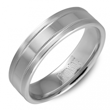 14K White Gold 6MM Double Row Notched Wedding Band