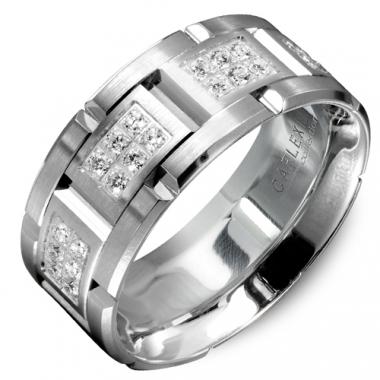 18K White Gold Triple Row Diamond 9MM Wedding Band