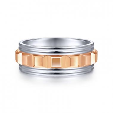 14K White and Rose Gold 8MM Center Cubes Wedding Band