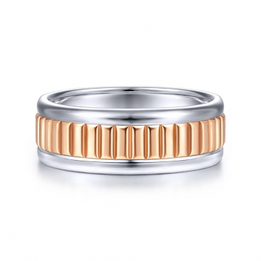 14K White and Rose Gold 8MM Grooved Wedding Band