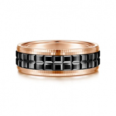 14K Rose Gold and Black Overlay 7MM Double Cube Wedding Band