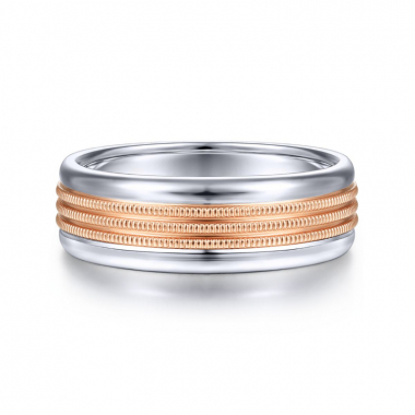 14K White and Rose Gold 7MM Rope Center Wedding Band
