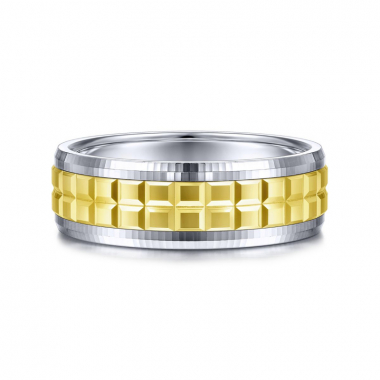 14K White and Yellow Gold 7MM Double Cube Wedding Band