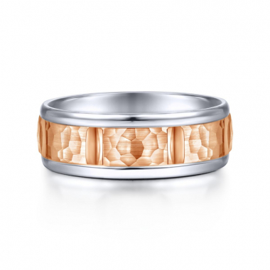 14K White and Rose Gold 7MM Hammered Wedding Band