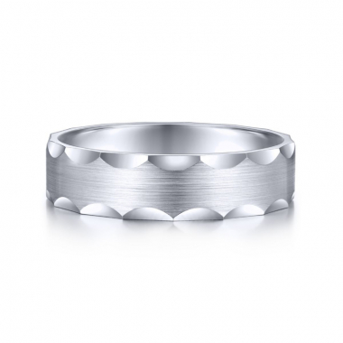 14K White Gold 6MM Curved Groove Edge Wedding Band