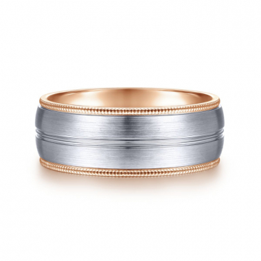 14K White and Rose Gold 8MM Brushed Channel Coin Edge Wedding Band
