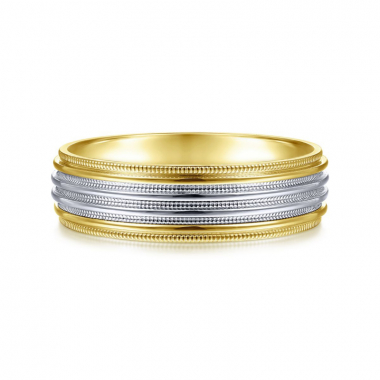 14K White and Yellow Gold 6MM Polished Milgrain Channel Wedding Band