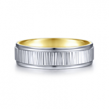 14K White and Yellow Gold 6MM Etched Center Wedding Band