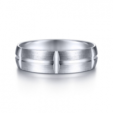 14K White Gold 6MM Center Groove Vertical Grove Brushed Wedding Band