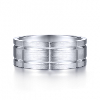 14K White Gold 8MM Checkerboard Brushed Wedding Band