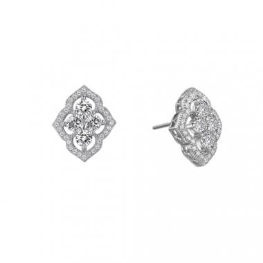 Sterling Silver Simulated Diamond Vintage Earrings