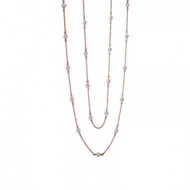 """Rose Gold Plated Sterling Silver 36"""" Necklace"""