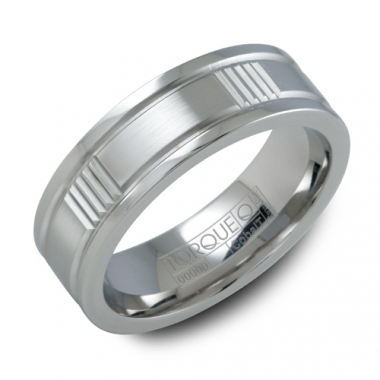 Cobalt 7MM Vertical Grooved Accent Wedding Band
