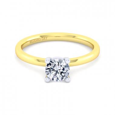 14K Yellow Gold 3/4ct Round Diamond Solitaire Ring