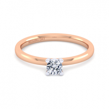14K Rose Gold 1/4ct Round Diamond Solitaire Ring